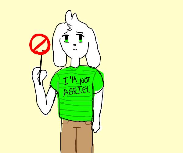 Asriel with 'I'm not Asriel' shirt