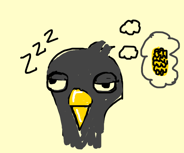 Pigeon dreaming of a corn cob