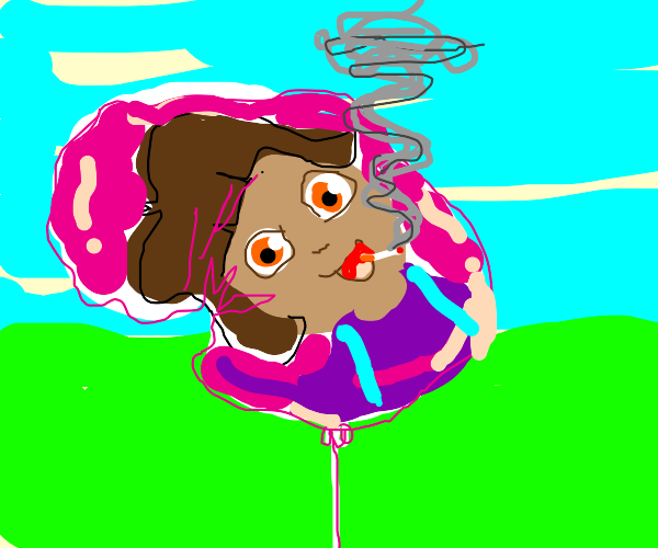 Deflated Dora balloon smoking