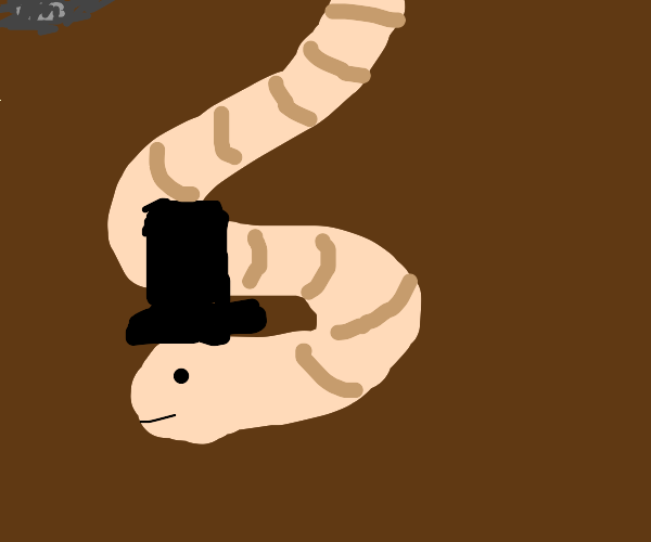 worm with top hat goes down tunnel