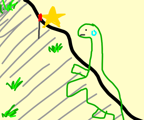 Dinosaur hiking with a Star