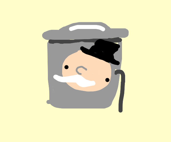 Genericgarbagecan, a monopoly man face, cane