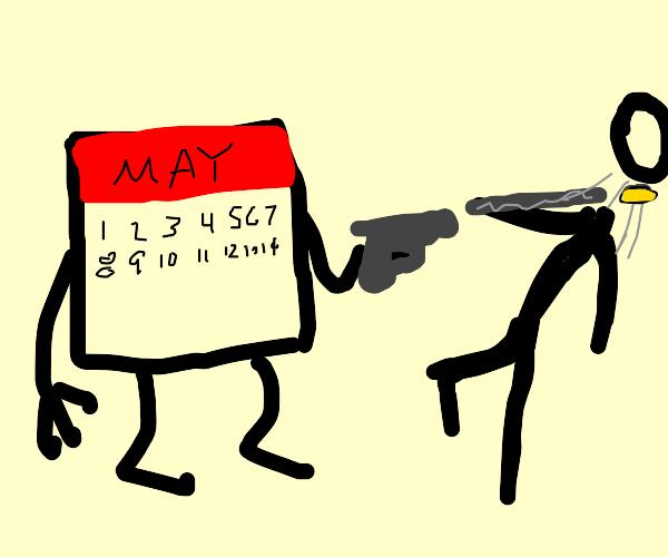 Calendar shoots someone's head off