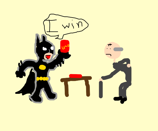 Batman wins at uno against an old man