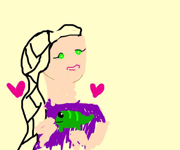 Rapunzel hugging Pascal (Tangled)
