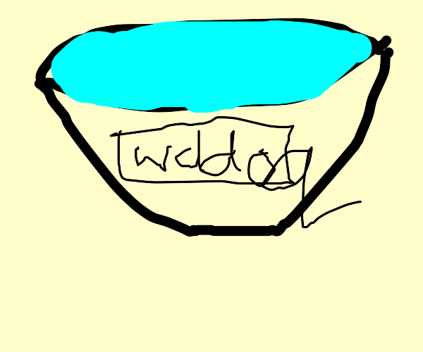 a bowl of water with a card that's say wddoq
