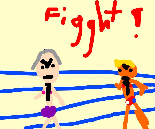 biden fights trump in the ring