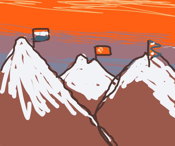 Himalayas at sunset