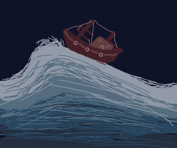 small boat on large wave