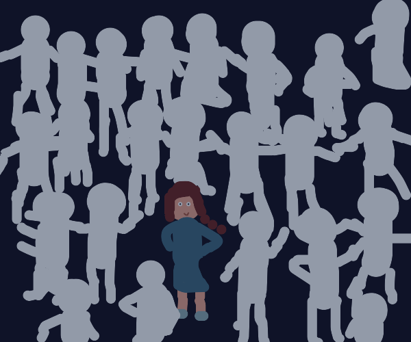 Girl standing out in a crowd