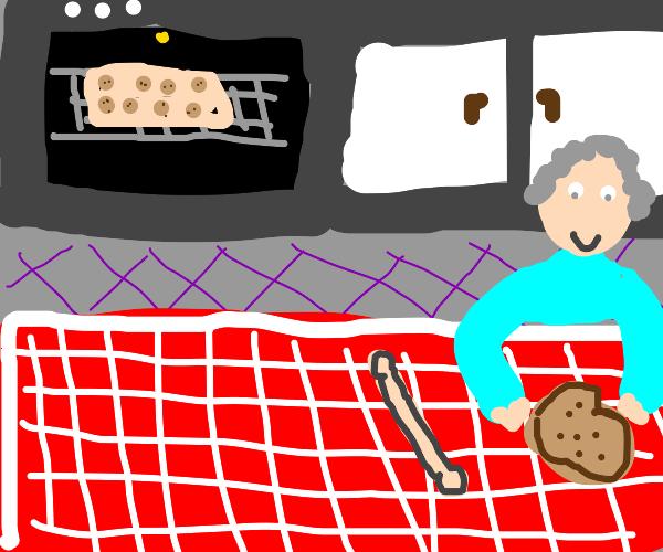 old grandma making cookies