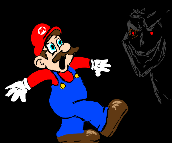 Mario scared by the evil demon