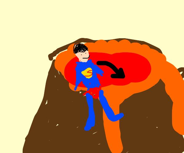Superman in a volcano