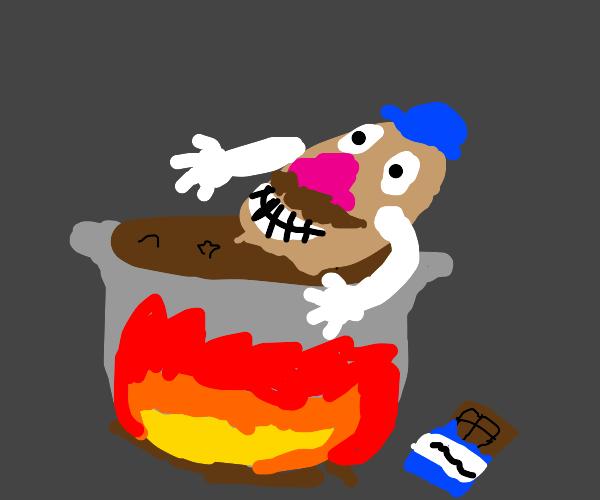 Mr. Potato bathing in a cauldron of chocolate