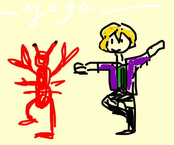 Doing yoga with my lobster friend