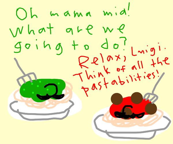 The Mario Bros as spaghetti