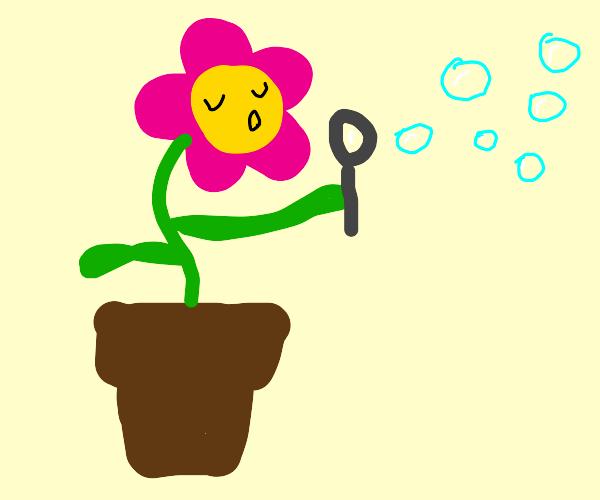 Flower blowing bubbles