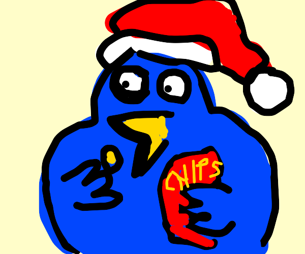 Blue duck Santa eats chips
