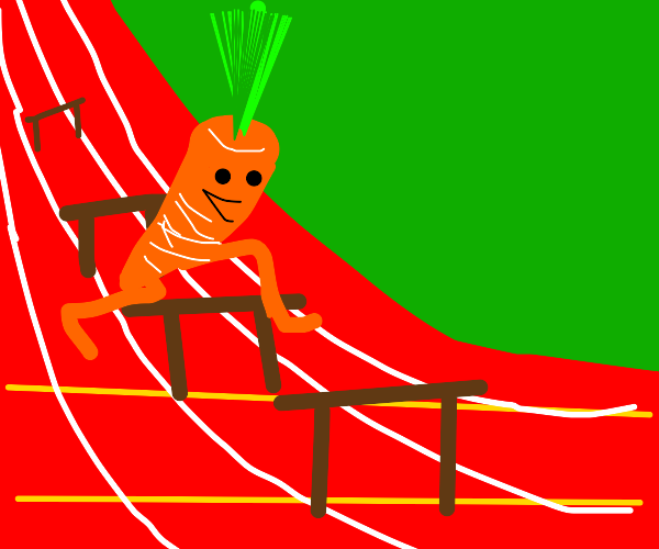 carrot jumping over hurdles