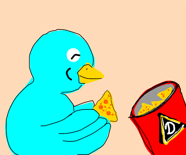 blue bird eats doritos