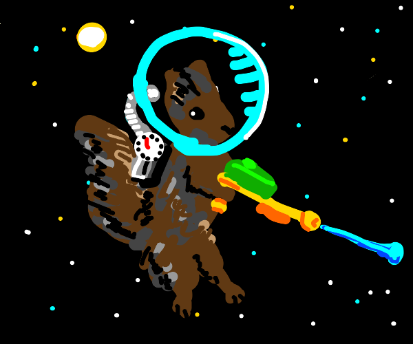 squirrel with a water gun in space