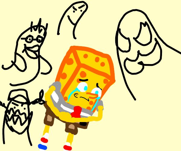 Spongebob tormented by inner demons