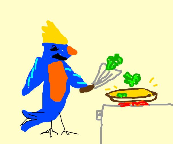 Happy blue bird fries up some broccoli