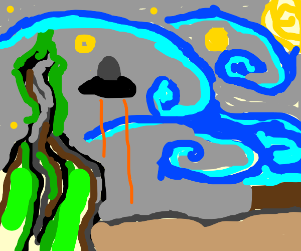 Van Gogh's stary night with added UFO!