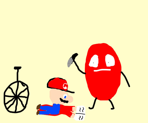 evil red shell gonna kill Mario and his bike
