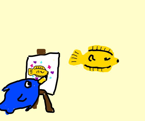 Fish draws his friend