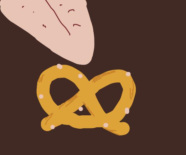 Giant tongue licking pretzel