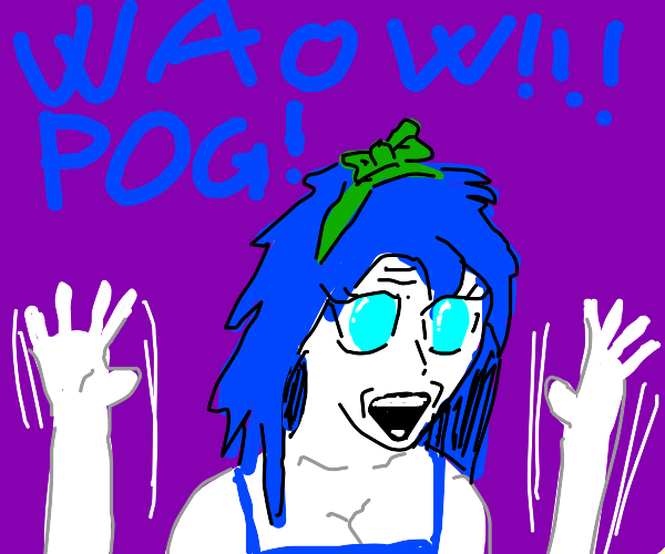Blue Haired and Green Bowed Girl Anime Pog