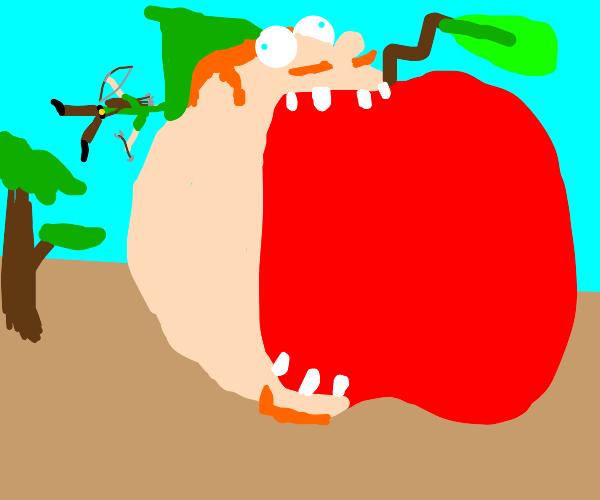 Robin Hood eats a giant apple