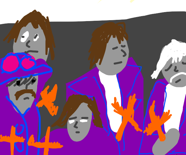 Purple Floyd holding an offensive symbol