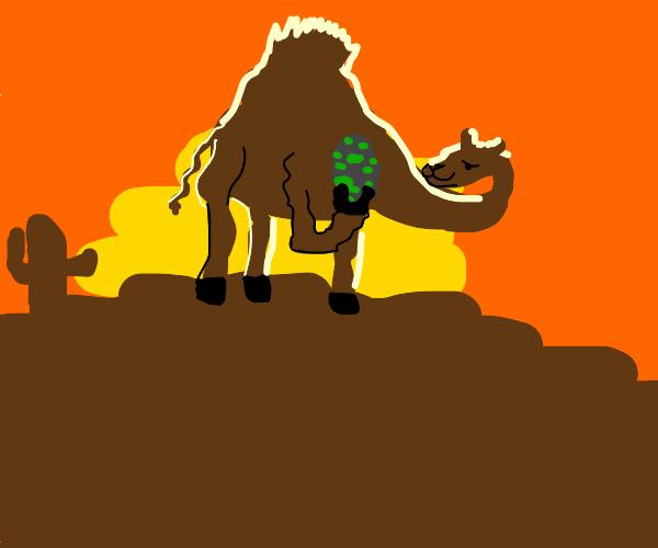 A camel holding a yoshi egg across the desert