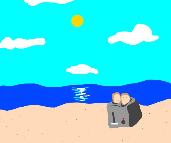 Gettin toasty on the beach