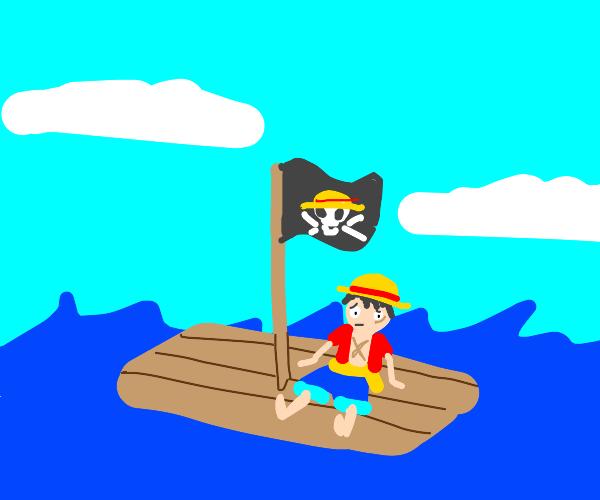 Luffy on a single sail boat