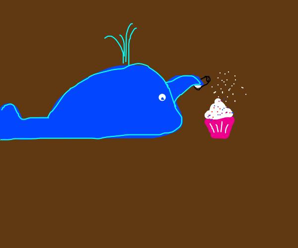 Whale salting a Cupcake