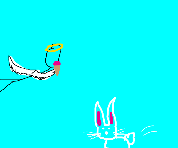 Angel tryna eat icecream but here comes bunny