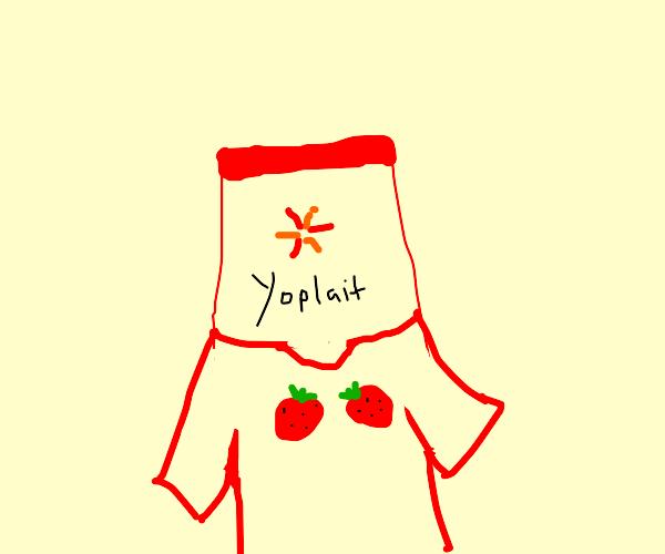 Yogurt wearing a T-Shirt