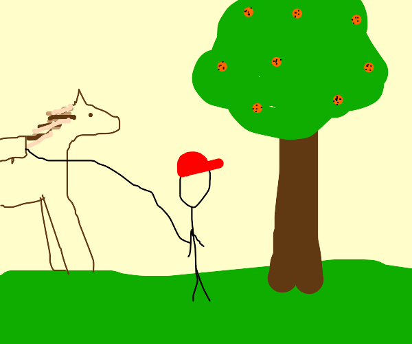 person with hat next to orange tree with hors