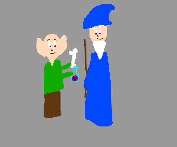 Female elf gives wizard poison & bones