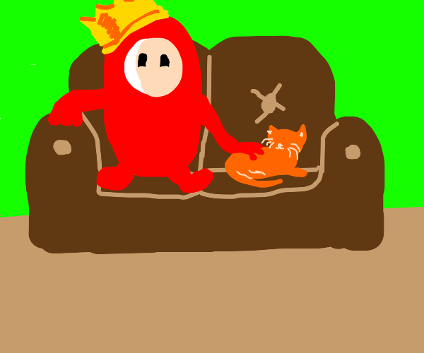 Red Fall guy bean petting an cat on the couch