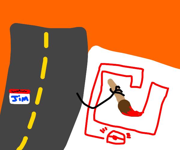 Road Jim paints his map