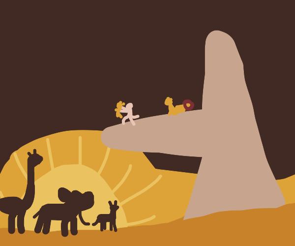 Simba being hoisted