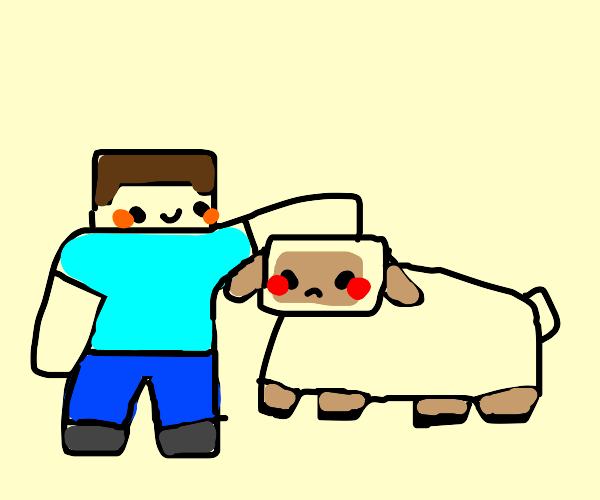 minecraft steve pets a sheep