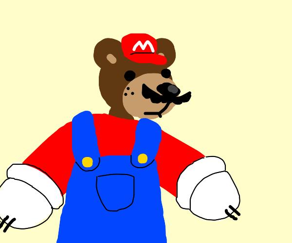 Mario turned into a bear!