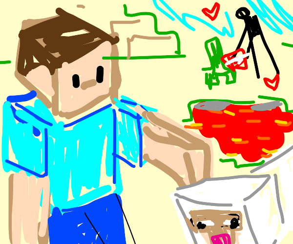 Minecraft Steve pats sheep on head
