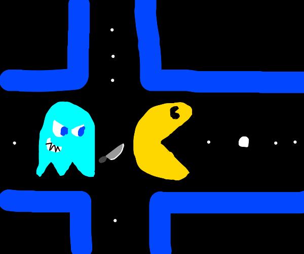 Inky sneaking in behind Pacman
