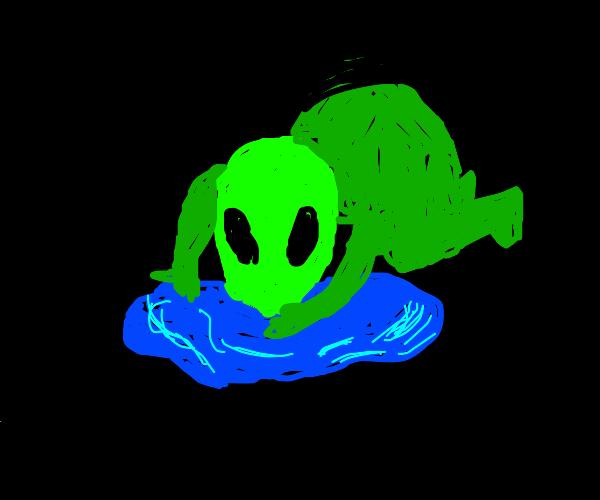 Alien slurps puddle